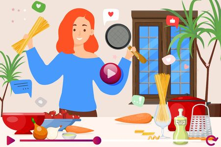 Video tutorial for cooking pasta, vector illustration. Girl character make dish at kitchen, show products and pan. Spaghetti