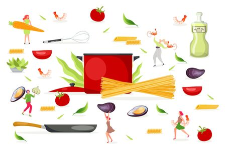 Pasta elements, cooking food, vector illustration. Restaurant dinner dish, adult flat woman character make traditional cuisine