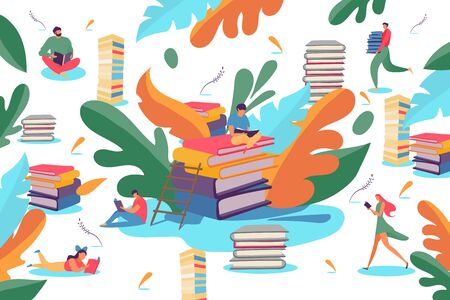 Reading book people in library, vector illustration. Man woman character study literature, knowledge education. Student flat