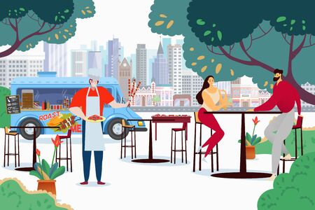 People at bbq truck cafe, vector illustration. Couple character at high table wait for order, cook with kebabs and fried meat.