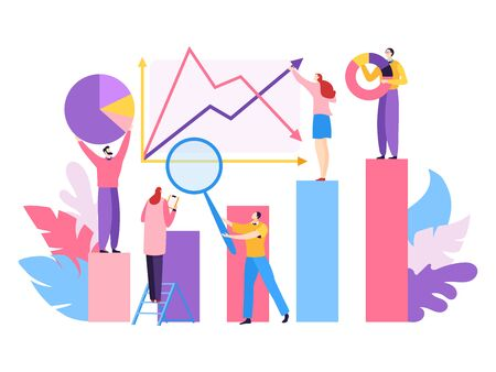 Company project big data, vector illustration. Analytic teamwork people character for successfull marketing, financial growth Vetores