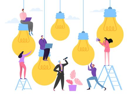 Business idea meeting concept, vector illustration. Company team people choose succesful idea, creative teamwork. Man woman