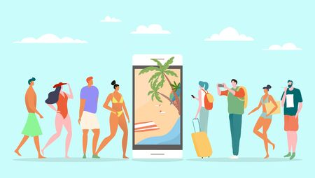 Online booking servoce for summer vacation, vector illustration. People tourist standing in line near large smartphone, tropical leisure on ocean beach reservation. Arrange holiday travel.