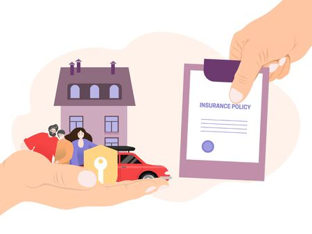 Agent hand hold insurance policy, concept money coverage save isolated on white, flat vector illustration. People character family female male preserve home car and private property.