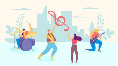 Music band character male female person, man play drum person guitarist flat vector illustration. Lovely sonata guy present treble clef and sings beloved woman, city urban background. Vecteurs