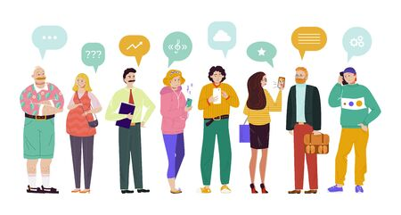 Group people speech bubbles comunication vector Illustration. Chat participants ask questions, find music, discuss various topics, exchange tips. Woman and man get to know each other, have dialogue.