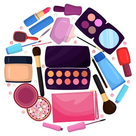 Cosmetics in bag, bagful makeup masters pink color with set plaster shadows, creams and lipsticks, design flat vector illustration. handbag with beauty salon for elegant care for face, eye, lips. 向量圖像