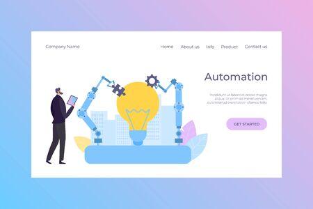 Manager control automation robot landing vector illustration. Smart engineering equipment, cartoon automated technology. Ilustração