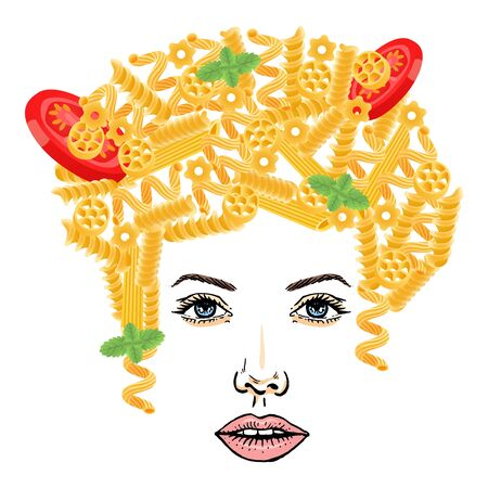 Pasta hairstyle, spaghetti girl at white background, vector illustration. Food on woman character head, yellow pasta with greens