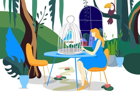 Bird in cage care, vector illustration. Girl people character pay attention to pet, tropical animal on table. Femininity room