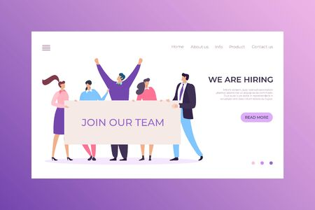 Staff recruitment business agency landing headhunter concept, character male female company team flat vector illustration. 向量圖像