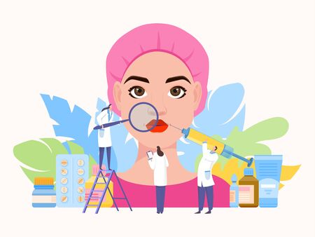 Beauty injection team work vector illustration. Hyaluronic acid corrects contour and shape face, eyelids. Nurse takes notes.