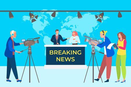 Breaking news concept vector illustation. Television studio broadcasts program. Group operators recording video on cameras.