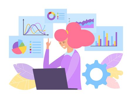Business analysis concept vector illustration. Specialist behind laptop simulates financial chart companys profit increase. Ilustração