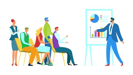 Meeting business training concept vector illustration. Group people receive vocational education. Speaker gives lecture for team. Vectores