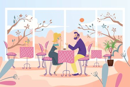 Couple date at cafe table, vector illustration. People man woman character have romantic date in restaurant near large window
