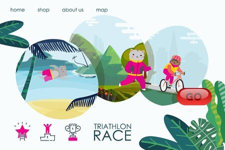 Sport cat triathlon race, landing banner vector illustration. Athlete cartoon animal healthy training, exercise training.