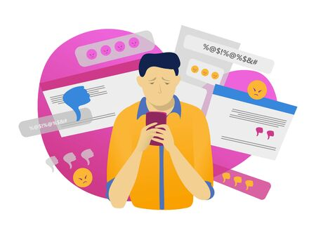 Male character hold mobile phone, online cyber bullying isolated on white, flat vector illustration. Modern technology, web man harassment. Illustration