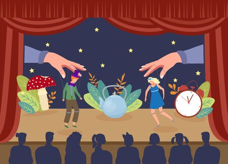 Simple theater puppet show, vector illustration. Performance marionettes actors on stage, large hands pulling threads from curtain