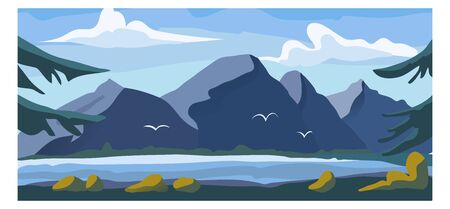 High mountain view landscape, alpine natural garden with fresh water lake background environment banner cartoon vector illustration. Outdoor forest and river place, intact nature national park.