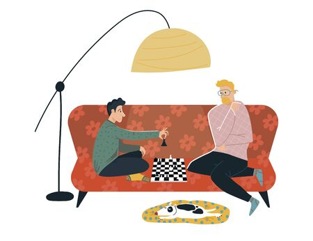 Male friend character play difficult chess, cozy room place couch isolated on white, flat vector illustration. Person spend fun time checkers, dog lay warm rug. Men sitting sofa and communicate.