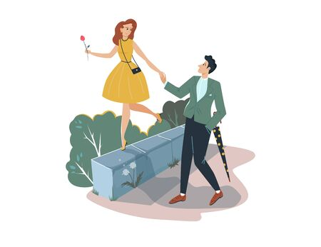 Lovely romantic date, man holding hand sweetheart female isolated on white, cartoon vector illustration. Character pair male and woman stroll.