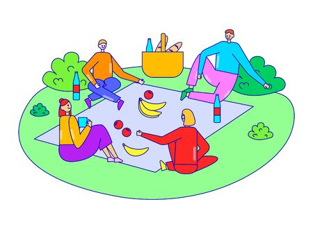 Group friend relax together corporate picnic time, character male female fun outdoor party isolated on white, line flat vector illustration.