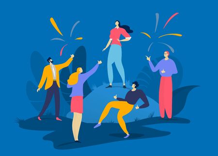 Character success female male, group people together congratulate best prosperous person isolated on blue, flat vector illustration. Vectores