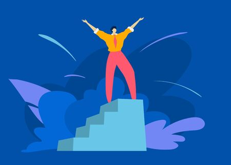 Male character raise hand up on winner pedestal, get first place successful man person take best place isolated on blue, flat vector illustration. Vectores