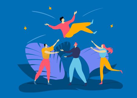 Group character colleagues people tossing up in air male, best successful worker isolated on blue, concept flat vector illustration. Vectores
