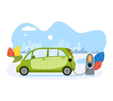Electric car charge battery, public ecology friendly electric vehicle recharger isolated on white, flat vector illustration. Concept eco city of future.