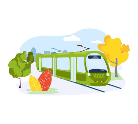 Electric subway train, urban public transport system isolated on white, flat vector illustration. Ecology care nature metro vehicle, city preservation environment. Concept tram average movement. 일러스트