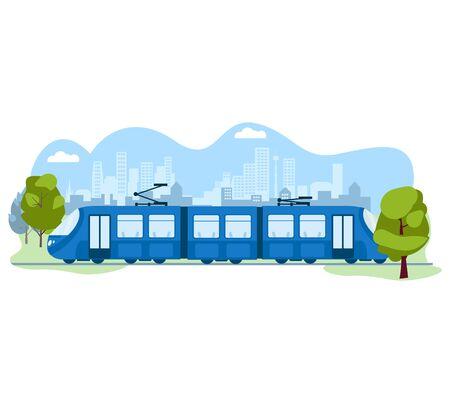 Public modern skytrain transport, subway urban system isolated on white, flat vector illustration. Ecology friendly electric traffic train.