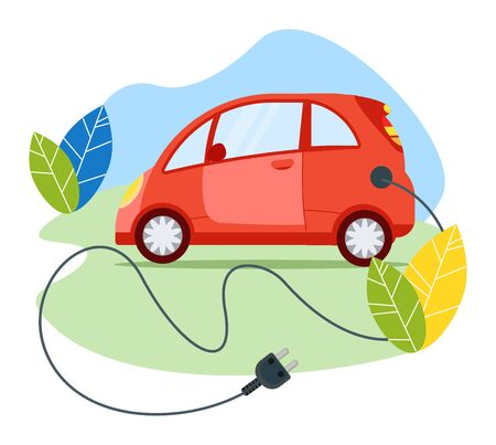 Ecology friendly electric car modern transport vehicle, red passenger auto with cable plug isolated on white, flat vector illustration. 일러스트