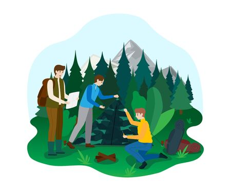 Hiking camping outdoor national park area, male character naturalist walk ecology explore forest isolated on white, flat vector illustration.