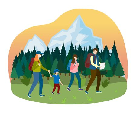 Sport family walk hiking camping outdoor tree forest place, character father mother boy and daughter isolated on white, flat vector illustration.