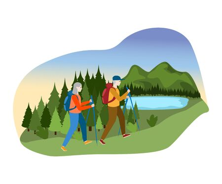 Lovely couple male female together camp outdoor mountain hill, person character walk forest river isolated on white, flat vector illustration.