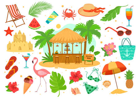 Summer sea beach objects vector illustration set, cartoon flat beachfront bar with tropical drink, vacation island element isolated on white Illustration