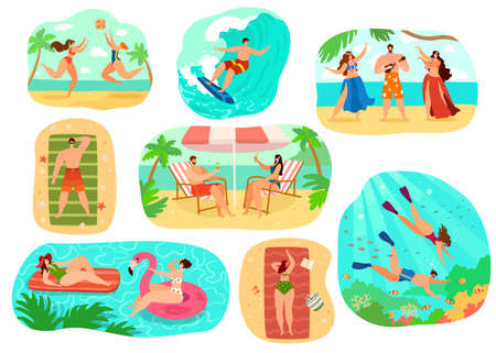 Beach people vector illustration set, cartoon flat active happy man woman character in sport activity, sunbathing, surfing isolated on white