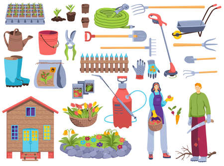 Garden tools vector illustration set, cartoon flat man woman gardener character with farm equipment for gardening work isolated on white