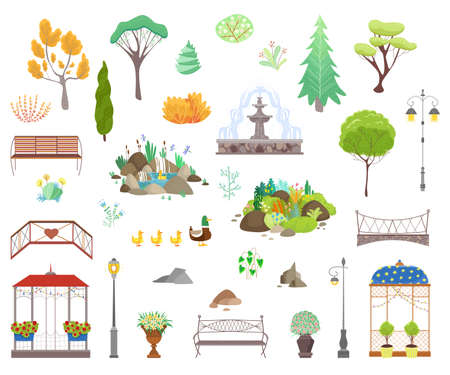 Park decor elements vector illustration set, cartoon flat city park garden landscape items collection icons isolated on white