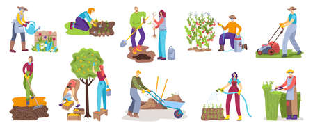 People in gardening activity vector illustration set, cartoon flat man woman gardener character doing garden job icons isolated on white