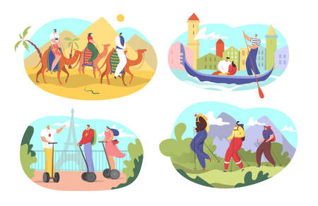Tourist tour vector illustration set, cartoon flat active people riding camels, touring in Venetian gondola, enjoying Eiffel Tower or hiking 向量圖像