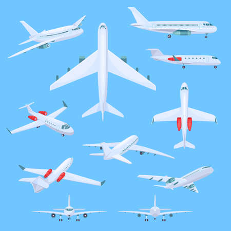 Airplane flying vector illustrations, cartoon flat air plane airline collection in top or side, front view, isometric aircraft in flight 矢量图像