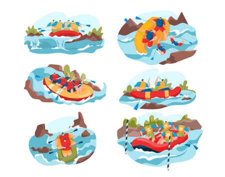 People rafting on river vector illustration set, cartoon flat man woman active team of characters sitting in rubber boat, holding oars