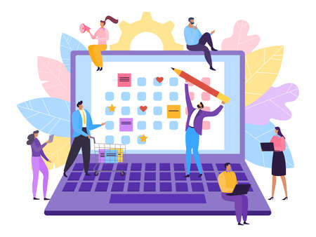 Schedule and agenda in business planner, vector illustration. Calendar for plan event and meeting at office teamwork concept. Vecteurs