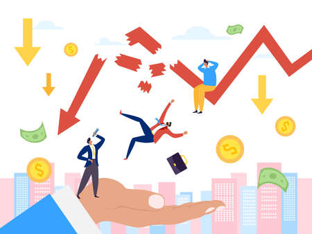 Bankruptcy and financial crisis, economy down graph vector illustration. Businessman finance and money recession, risk to loss
