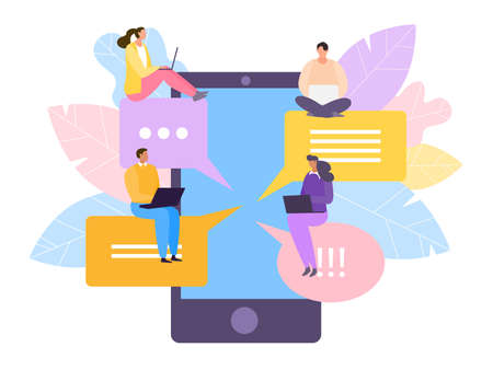 Social madia for tiny character in large flat smartphone, vector illustration. Person near bubble message technology, web speech.