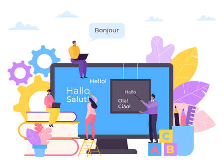 Language education online, course in computer vector illustration. Internet knowledge for student character, study technology.