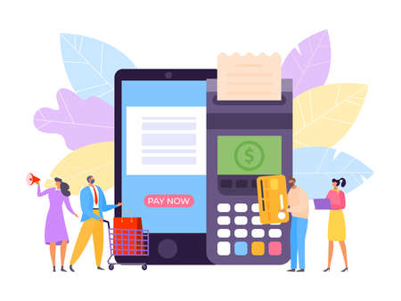 Payment by card, finance credit technology vector illustration. Money for business terminal concept, transaction in mobile bank Vektoros illusztráció